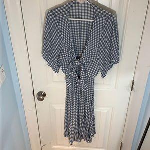 Olivaceous • Light Blue Gingham Tie front Dress